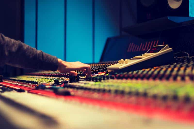 Producer mixing in a music studio